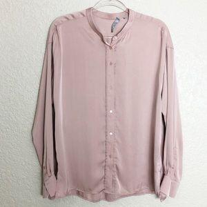 EUC Vince button down Mock neck silk blouse
